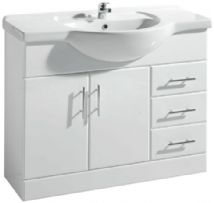 High Gloss White 1050mm Basin Unit